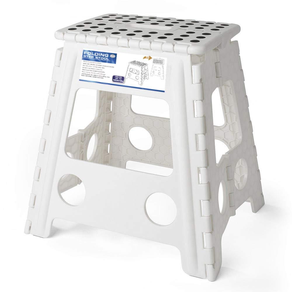 Acko 16 Inches Super Strong Folding Step Stool for Adults and Kids, White Kitchen Stepping Stools, Garden Step Stool, Holds up to 330 LBS