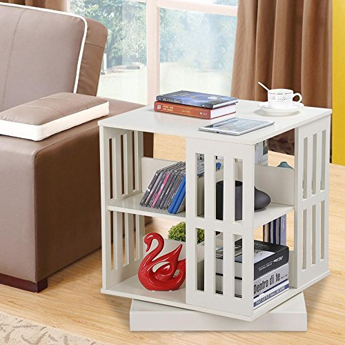 Topeakmart 2-tier Revolving Bookcase Storage Cubes Organizer Shelf Display Cabinet Sofa Side End Table, Antique White (Book Table Revolving)