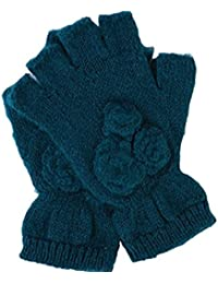 Women's Metallic Fingerless Gloves,Teal,One Size