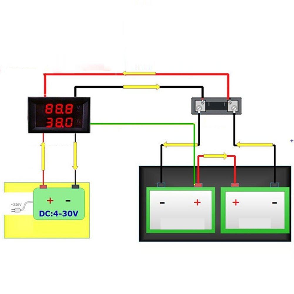 Balai Dc Ammeter Voltmeter 0 100 V 10 A Red Blue Led Wiring Diagram Of Electronics