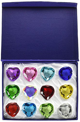 Heart Diamond Jewel Paperweight Cut Box Set 12pcs (#40mm)