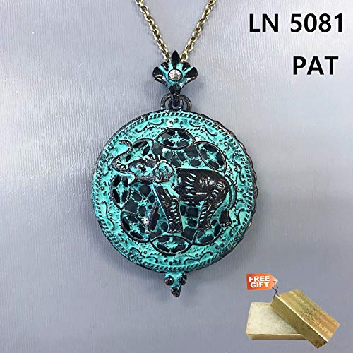Long Antique Patina Finished Animal Elephant Magnifying Glass Pendant Necklace Set For Women + Gold Cotton Filled Gift Box for Free