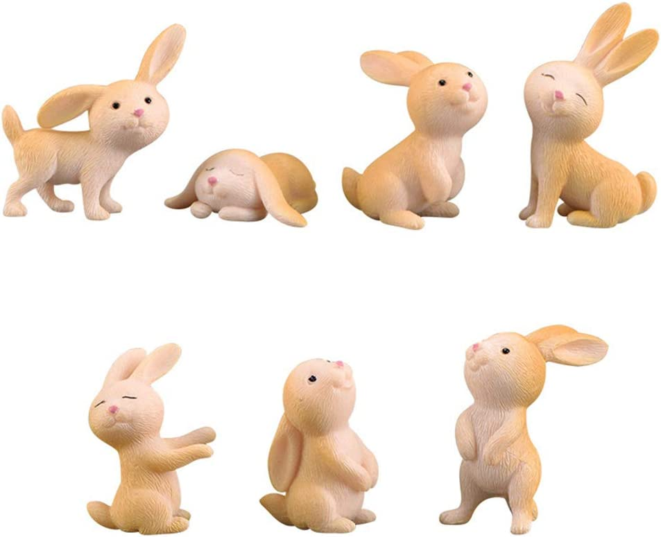 7 Pcs Rabbit Figures for Kids, Animal Toys Set Cake Toppers, Rabbit Fairy Garden Miniature Figurines Collection Playset for Christmas Birthday Gift Desk Decorations