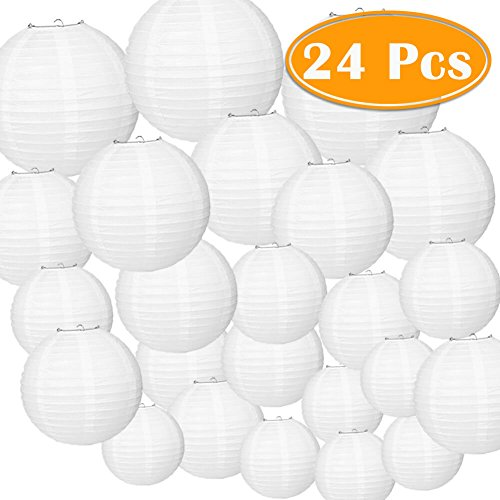 Paxcoo 24 Pack White Paper Lanterns with Assorted Sizes -