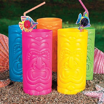 Fun Express Assorted Plastic Tiki Mugs - 12 Pieces