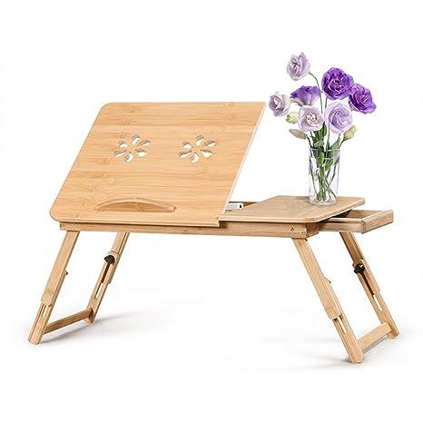 Tavolino Da Letto.Tavolino Da Letto In Bambu Bambu Puro Al 100 Computer Portatile Vassoio Da Letto In Bambu Regolabile In 5 Posizioni Colazione Tavolino