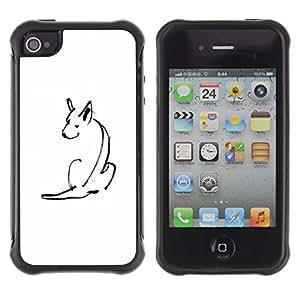 Be-Star único patrón Impacto Shock - Absorción y Anti-Arañazos Funda Carcasa Case Bumper Para Apple iPhone 4 / iPhone 4S ( Minimalist Pen Drawing Skull White )