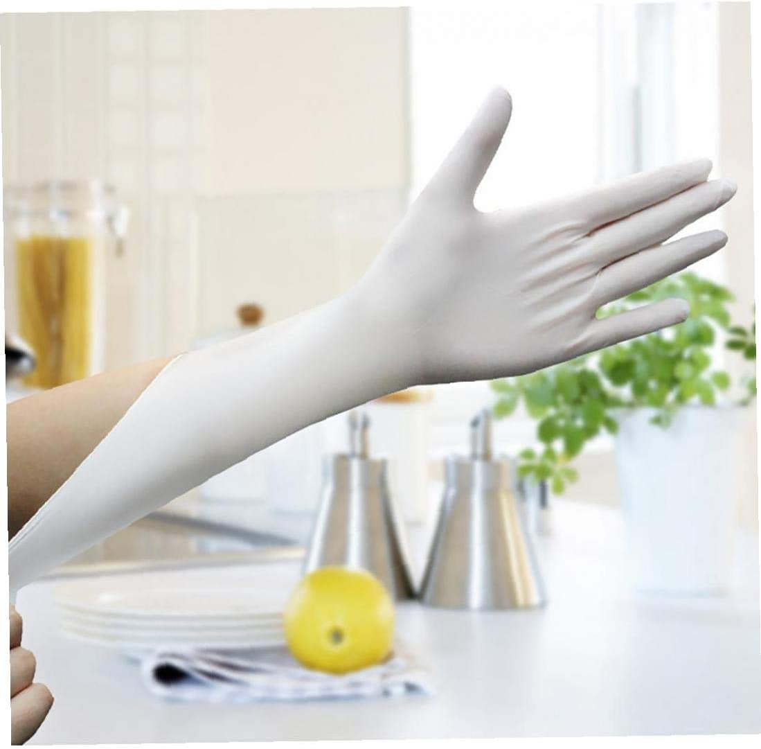 50pcs Disposable Latex Gloves with Non-Slip Waterproof Rubber Gloves for Home Laboratory Protective Gloves White L
