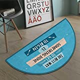 Suchashome Motivational Half round doormat outside Philosophical Life Message to Raise Faith in Yourself and Your Strength Bathroom Mat for tub Non Slip Blue Peach Black size:35.5''x23.7''