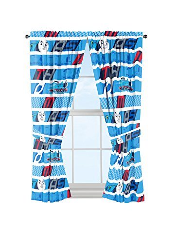 Mattel Thomas The Tank Engine Colorblock Curtain Panel and Tie Backs Drapery (Thomas Tank Engine Pictures)