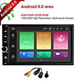 MCWAUTO Car Radio Stereo Audio 7 Inch Android 8.0 Oreo,4GB RAM 32GB ROM Octa-Core Universal Double Din Car GPS Navigation Head Unit with Bluetooth,WiFi Connection(NO DVD/CD)