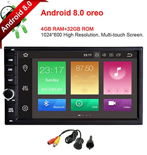 MCWAUTO Android 8.0 standard universal Double 2 Din 4G+32G In Dash Car Stereo Radio GPS Navigation Support 4G WIFI Bluetooth Mirrorlink with Rear Camera