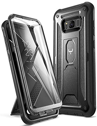 YOUMAKER Kickstand Case for Galaxy S8 Plus, Full Body with Built-in Screen Protector Heavy Duty Protection Shockproof Rugged Cover for Samsung Galaxy S8 Plus (2017) 6.2 inch - Black/Black