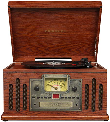 Crosley CR704D-PA Musician 3-Speed Turntable with Radio, Cd/Cassette Player, Aux-in and Bluetooth, Paprika (Crosby Entertainment Center)