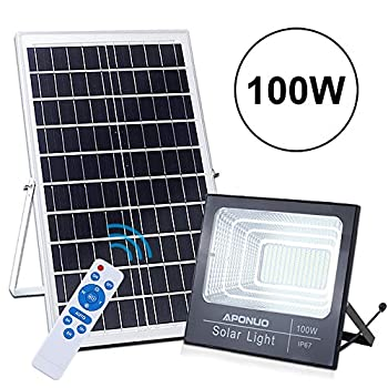 Image of 100W Solar Powered Street Flood Lights, APONUO 196 LED 5000 Lumens Outdoor IP67 Waterproof with Remote Control Sensing Auto On/Off for Yard, Garden, Billboard, Swimming Pool, Basketball Court Home Improvements