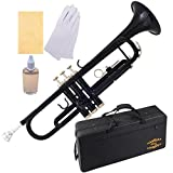 Glory Brass Bb Trumpet with Pro Case +Care Kit, Black, More COLORS Available ! CLICK on LISTING to SEE All Colors