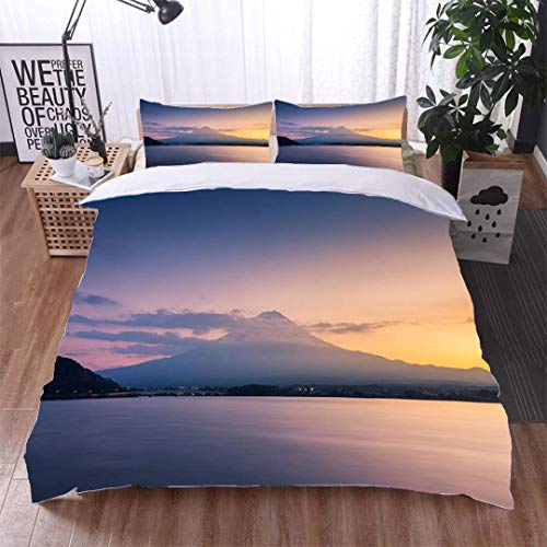 VROSELV-HOME Full/Queen Size Quilt Bedding Set,Mountain Fuji and Lake Kawaguchi at Sunset,Soft,Breathable,Hypoallergenic,3 Piece Bedding Quilt Coverlets - 100% Cotton Bed Quilts Coverlet