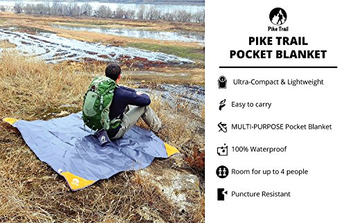 Pocket Blanket -Compact Picnic Blanket (60″x 56″) – Sand Proof Beach Blanket / 100% Waterproof Ground Cover. Great Outdoor Blanket for Hiking, Camping, Picnics, Travel and Beach Trips!