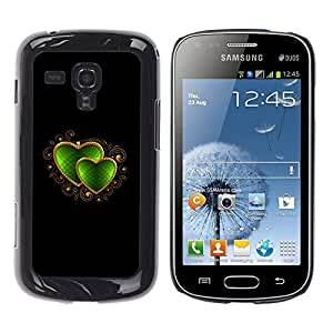 TECHCASE**Cubierta de la caja de protección la piel dura para el ** Samsung Galaxy S Duos S7562 ** Heart Jewel Black Golden Love Emerald
