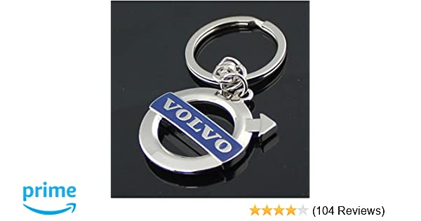 Volvo Blue Logo 3D Chrome Plated Key Chain Ring FOB