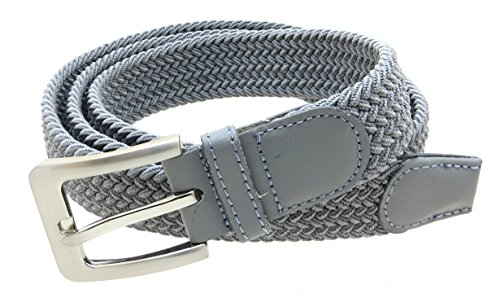 Mens Braided Elastic Stretch Belt Leather Tipped End and Silver Metal Buckle (Gray-S) - Grey Belt Buckle