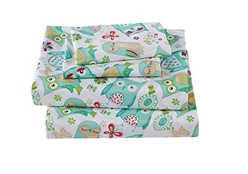 Linen Plus 3pc Crib/Toddler Bed Sheet Set for Girls Owl Aqua Green White New (Bedding Owl Toddler)