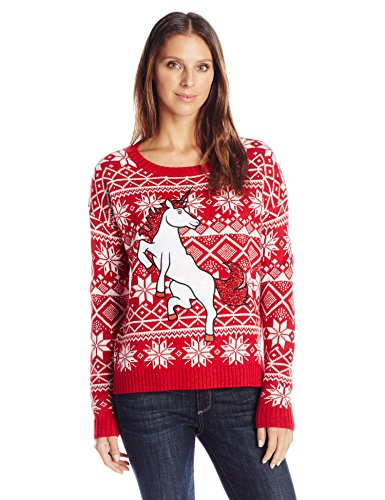 Blizzard Bay Women's Glitter Unicorn Ugly Christmas Sweater, Red/White, Medium