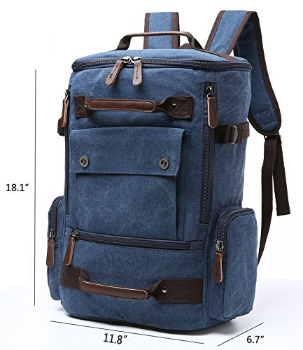Canvas Backpack, Aidonger Vintage Canvas School Backpack Hiking Travel Rucksack Fits 15'' Laptop (Dark Blue) by Aidonger (Image #2)