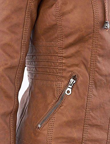 Piel 44 Cremallera Moto Caqui Abrigos Con Minetom Chaquetas Cazadoras Mujer Invierno Cuero Es Imitacion Biker Capucha nxwxTf0Zq4