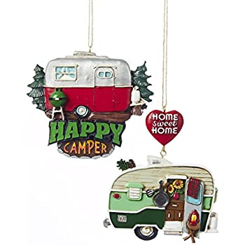 resin painted camper hanging ornament set of 2 home sweet home happy camper - Christmas Camper Decoration