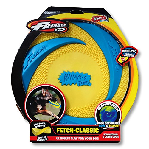 Wham-O Pets Rubber Frisbee, 9'', Yellow/Blue by Wham-O