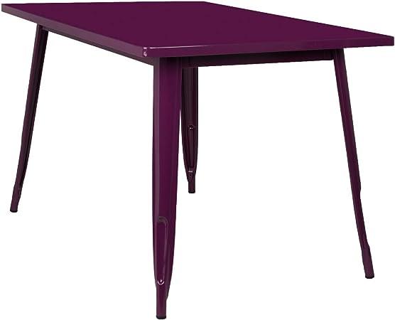 SKLUM Mesa LIX (120x80) Acero Brillante Violeta Púrpura - (Elige ...
