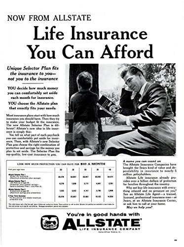 Original  Print Ad  1959 Allstate Insurance   Life Insurance You Can Afford   Vintage Long Non Color Ad   Usa   Nice