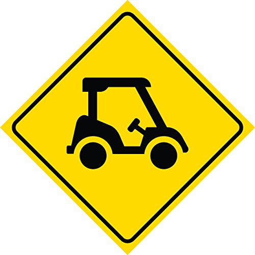 2 Pack - Aluminum Yellow Diamond Caution Golf Cart Crossing Signs Commercial Metal Square Sign, 12x12