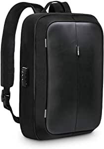 RedLemon Mochila Antirrobo Impermeable De Lujo con Candado, para Laptop de 15 Pulgadas y Tablet, Puerto USB para Power Bank (no incluida), Múltiples Compartimentos, Diseño Ejecutivo