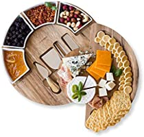 Cheese Cutting Board Set - Charcuterie Board Set and Cheese Serving Platter. 13 inch Meat/Cheese Board and Knife Set for...