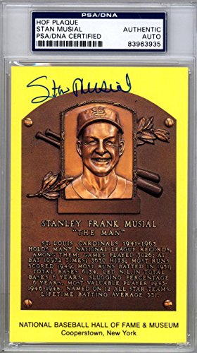 Stan Musial Authentic Autographed Signed HOF Plaque Postcard #83963935 PSA/DNA Certified MLB Cut Signatures