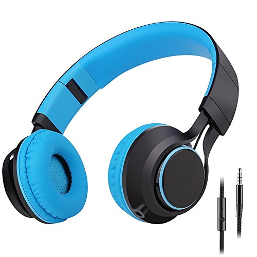 Sound Intone HD30 Kinder Kopfhörer mit Mikrofon Faltbare Tragbare Leicht Jungen Mädchen Ohrhörer und Abnehmbare 3.5mm Audio Kabel für iPhone Ipad Android Smartphone Laptop Tablette PC Mp3/Mp4(Blau)