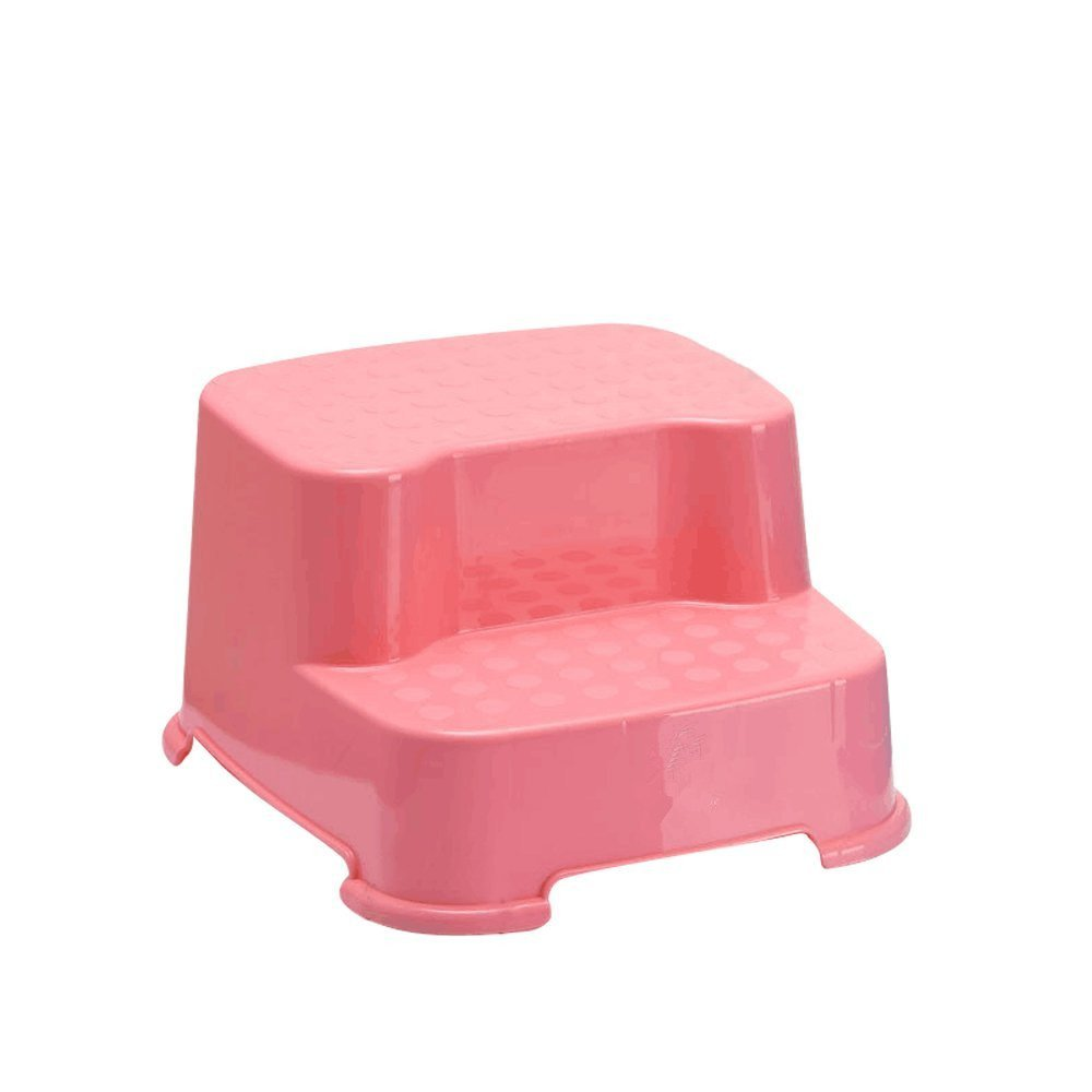 dingdangbell Baby Kids Extra-Wide Extra-Tall Jumbo Step Stool with Non-Slip Caps (Pink)