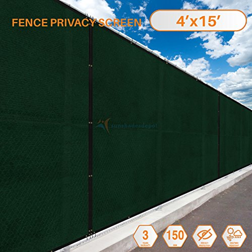 Sunshades Depot 4' FT x 15' FT Green Privacy fence screen Temporary Fence Screen 150 GSM, Heavy Duty Windscreen Fence Netting Fence Cover, 88% Privacy Blockage excellent Airflow 3 Years Warranty
