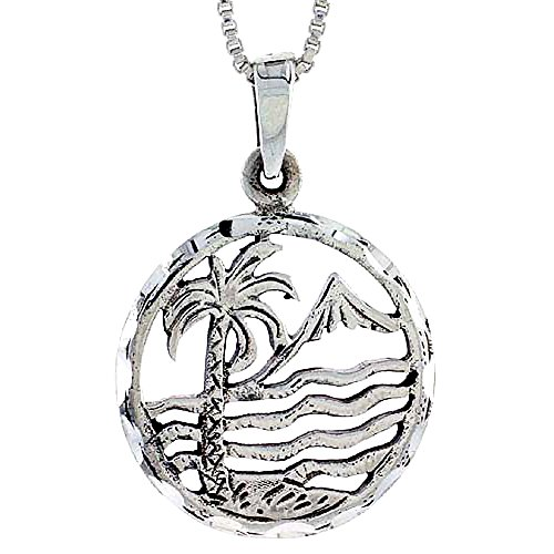 Sterling Silver Palm Tree Pendant, 7/8 inch tall ()