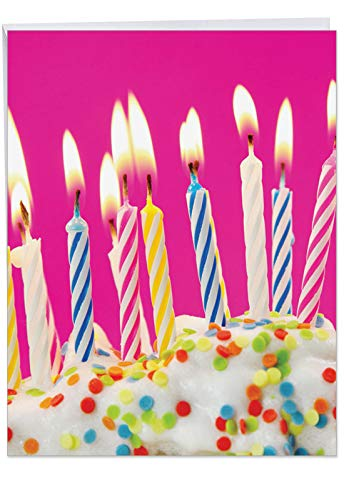 Extra Large Bday Greeting Card With Envelope 85 x 11 Inch  #039Birthday Candles Card#039 for Her Girlfriend Sister or Mother  Sprinkled Icing Cake with Vibrant Colorful Candles on Top J6555ABDG