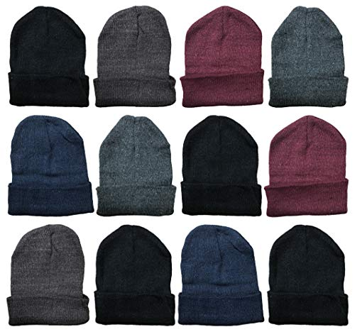 Cheap Winter Hats (Yacht & Smith Mens Womens Warm Winter Hats in Assorted Colors, Mens Womens Unisex (12 Pack Assorted Solids)