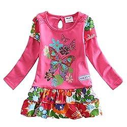 NEAT Kid Girl Butterfly Flower Princess Dress Long Sleeve Fuch For 90-95cm
