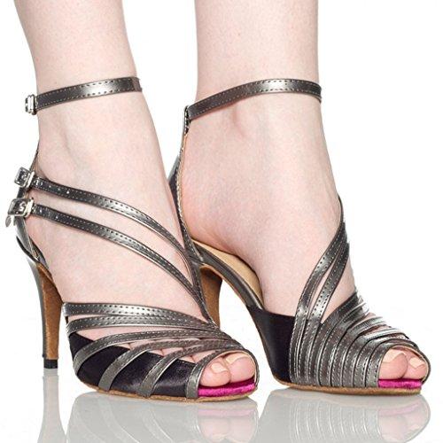 Wedding Heels Satin Sandals Women's Modern Latin Diamond Grey Doris Salsa Studded Tango Dance Ballrom Shoes wXI1Ux