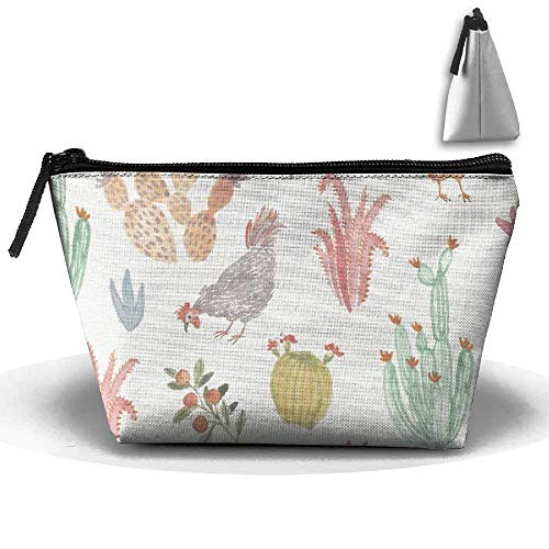 (Portable Travel Watercolor Chicken Pattern Illustration Storage Pouch Cosmetic Toiletry Bags Organizer Travel)
