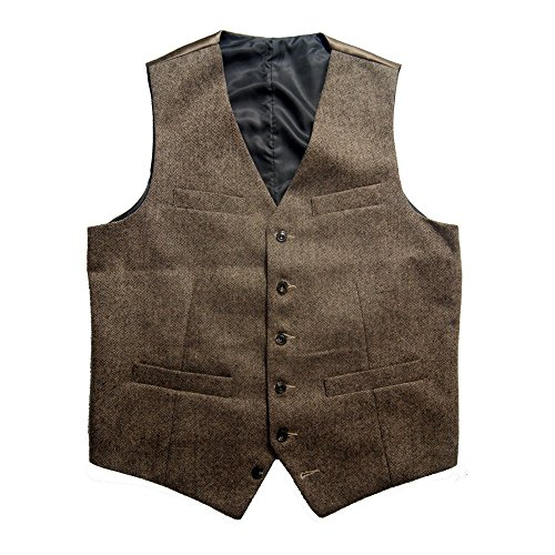 Tailorsun Vintage Mens Slim Fit Tweed Vest Brown (US 42)