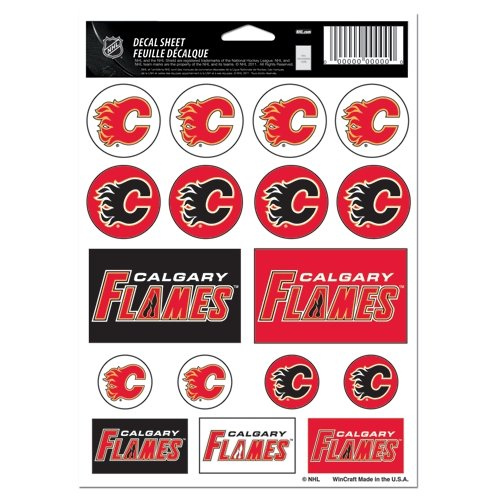 Wincraft NHL Calgary Flames Vinyl Sticker Sheet, 5'' x 7''
