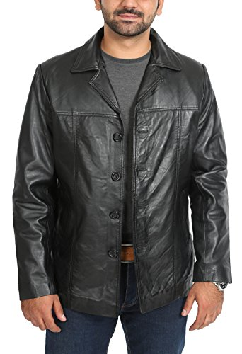 Mens Single Breasted Safari Reefer Button Box Leather Jacket ...