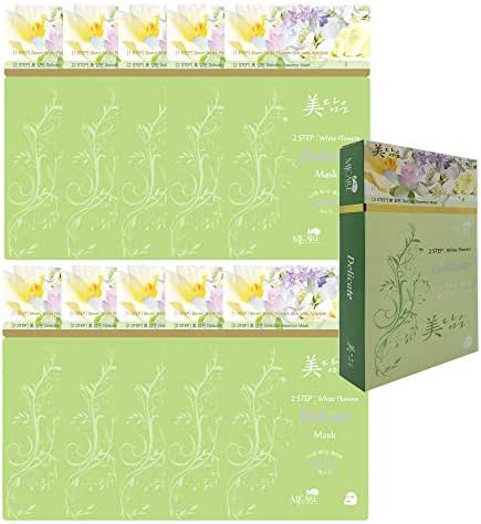 Pack of 10, The Elixir Korean Beauty 2-Step Intensive Skin Care Mask Sheet, 7 White Flower Ampoule with Full Facial Herbal Complex Mask Sheet for Dual Functional Synergy, Delicate
